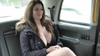 Big juggs passenger fucked by fake driver in the cab