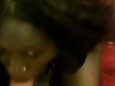Amateur African goddess blows white bone in homemade video
