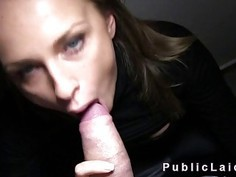 Hot blonde fucks in dark public stairwell