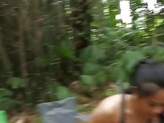 Three hot besties babes orgy in the tent during their camping