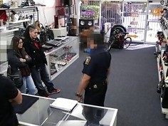 Pawnshop owner rewarded this lesbians thief after he catches her stealing in his shop
