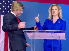 Cherie DeVille as Hillary Clayton sucks Donald Drumpf's fat cock