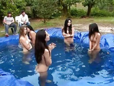 Slippery soaked orgy party with lesbian babes