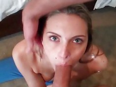 Gal acquires doggy position banging from stud
