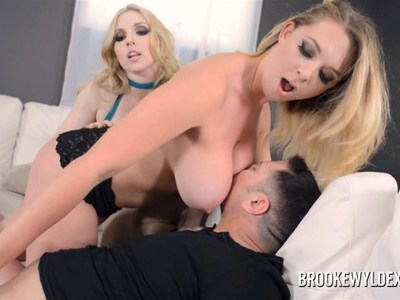 Young busty blonde sucking older guy