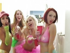 Four sexy teen besties enjoying the party and fucking