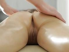Adorable brunette enjoys massage in big tits porn