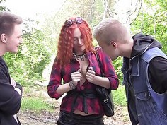 Redhead girl shows tits and fucks for cash
