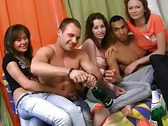 Awesome student blow jobs and group fucking