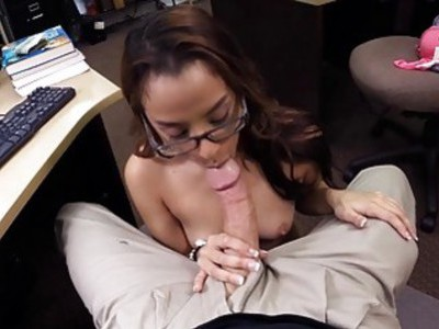 College girl with glasses gets pounded