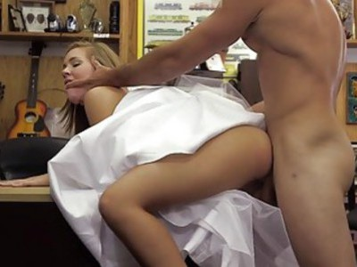 Hot babe pawns wedding dress and banged
