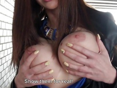 Eurobabe flashes big tits and ass fucked