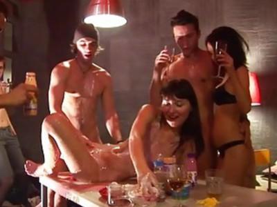 Super delicious and steamy party sex scene