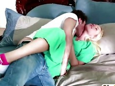 Sexy blonde babe fucked hard on the bed