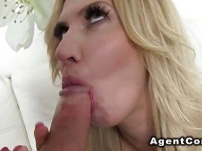 Busty blonde sucks agents dick for a job in casting
