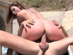 Spanish bitch Silvia Loca rides hard cock outdoors