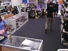 Babe with glasses banged by pawn keeper at the pawnshop