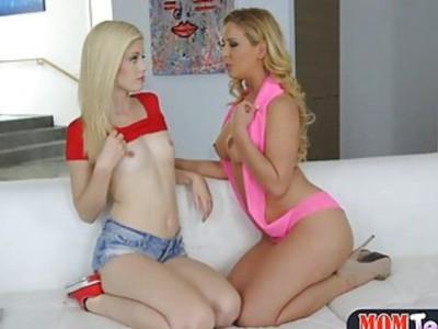 MILF stepmom Cherie Deville hot lesbian sex with a teen
