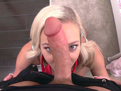 Tiffany Watson throat fucks enormous cock POV-style