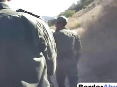 Stunning brunette teen fucked by border patrol agent