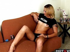 Trailer Trash Teen Blonde Rubs Away
