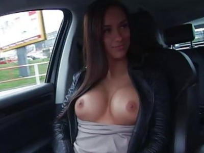 Brunette Victoria fucked in back seat