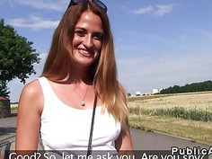 Czech busty babe fucks in some abandoned road