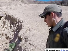 Naughty teen deepthroats hard dick and gets fucked by border patrol