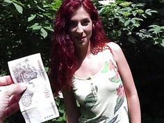 Redhead Czech babe fucked in the woods