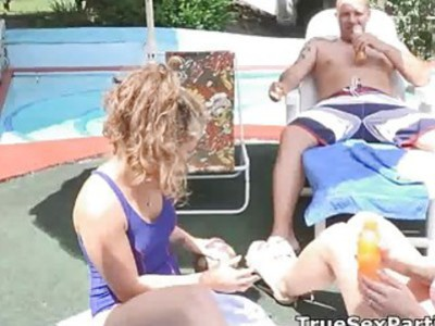 Leaked foursome pool fuck video