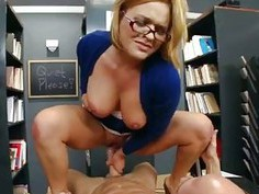 Horny school librarian gets slammed on her desk