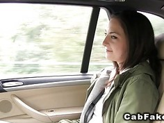 Amateur showing ass to fake taxi driver then fucking