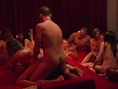 Swingers massive group sex in red room