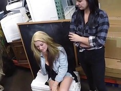 Horny dude fucks two hot slutty babes in the office