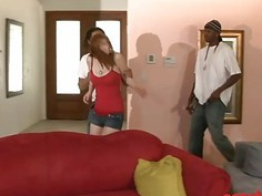 Redhead whore Violet Monroe anal drilled by black men
