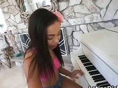 Ebony teen gf fucked on piano