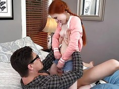 Horny tutor fucks with redhead teen Dolly