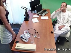 Busty brunette fucks doctor for a nurse job