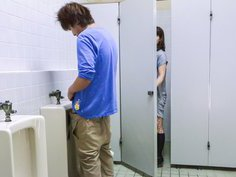 Japanese milf sneaking in public restrooms