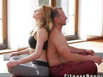 Perfect ass blonde gets banged after yoga training