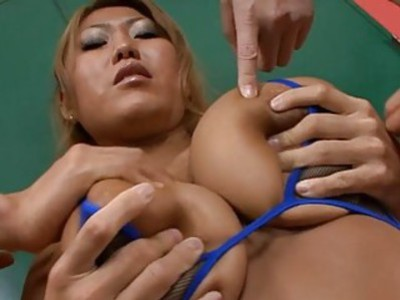 Japanese arouses with fellatio and tits fucking