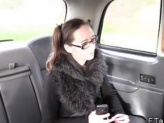 Slim tattooed and pierced babe fucks in fake taxi