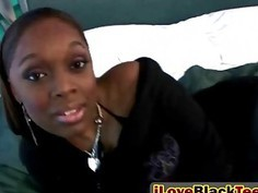 Humping the tempting ebony teen Justice Dior in doggy style