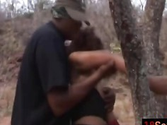Tourist hunters slaying petite black pussy hard way