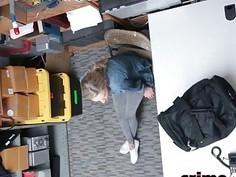 Pretty skinny blonde babe gets banged for shoplifting