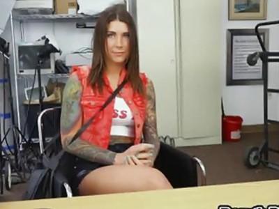 Tattooed brunette fucking interracial big dick