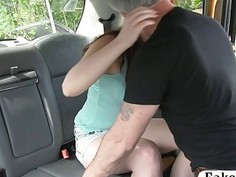 European redhead railed by nasty driver in the backseat