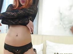 Redhead babe has and odd looking asshole