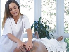 Latina masseuse filled with BBC