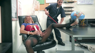 Tegan James gets caught by janitor, masturbating after lessons